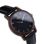 Drevené dámske čierne hodinky s čiernym koženým remienkom SLIM38 N103