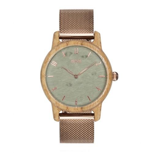 Drevené dámske šedé hodinky s kovovoým remienkom SLIM38 N107
