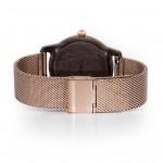 Drevené dámske šedé hodinky s kovovoým remienkom SLIM38 N108