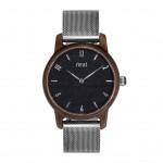 Drevené dámske čierne hodinky s kovovoým remienkom SLIM38 N109
