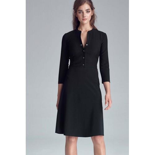 Dámske čierne šaty v Alínii so zapínaním s123