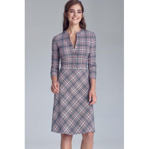 Dámske kárované šaty v Alínii so zapínaním s129