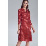 Červené bodkované šaty v Alínii so zapínaním s129