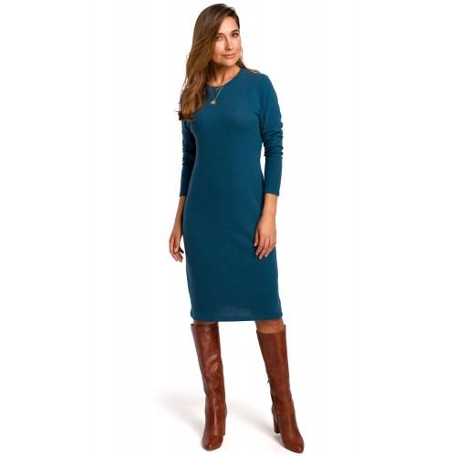 Azúrovomodré bavlnené púzdrové šaty s dlhým rukávom S178