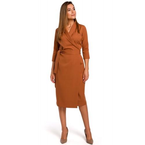 Škoricové púzdrové šaty s opaskom S175 L,XL