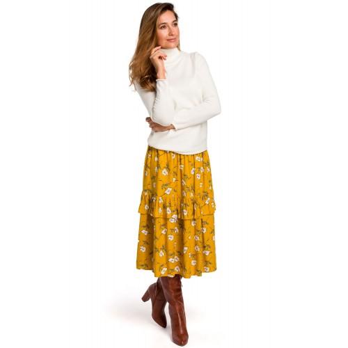Žltá kvetinová Áčková MIDI sukňa s volánikom S179