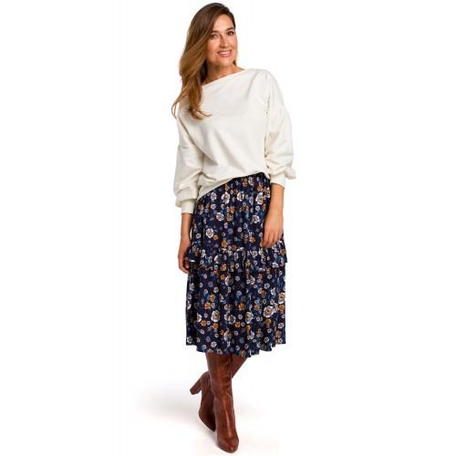 Modrá kvetinová Áčková MIDI sukňa s volánikom S179