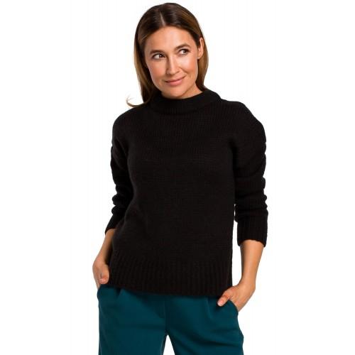 Čierny klasický pulover so širokým patentom S185