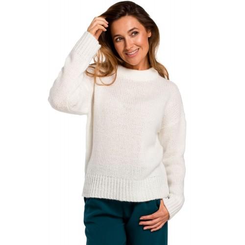 Ecru klasický pulover so širokým patentom S185