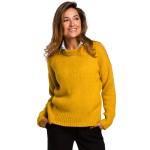 Medový klasický pulover so širokým patentom S185