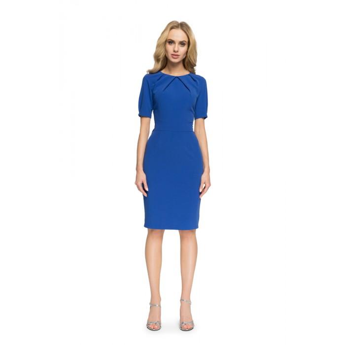 73409cbebfcb Kráľovsky modré púzdrové šaty s výstrihom na chrbte S004