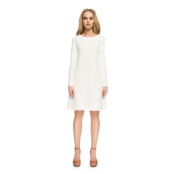 Style Smotanovo biele Áčkové úpletové šaty S007 467421b88d2