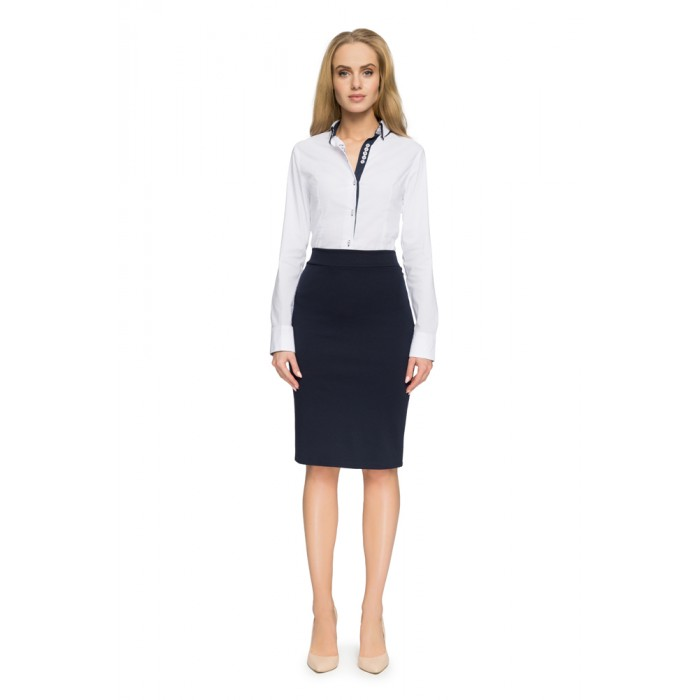 4608f29993c7 Style Tmavomodrá elastická púzdrová sukňa S009