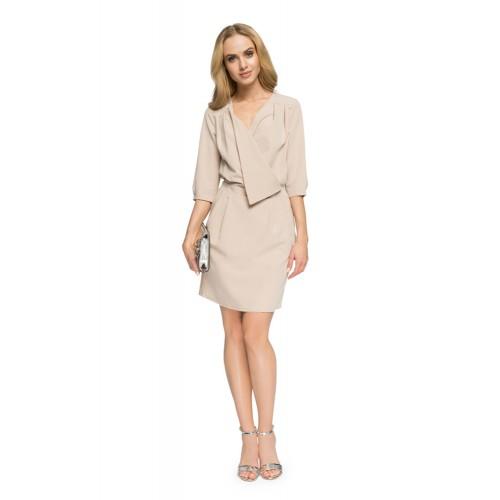 Style Béžové púzdrové šaty s preloženým dekoltom S018