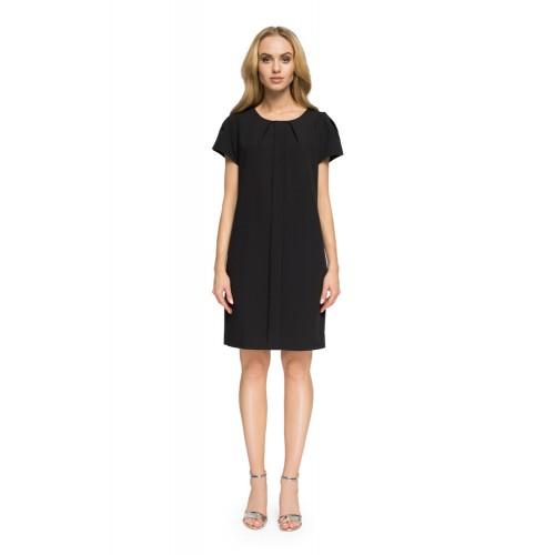 """Style Čierne """"áčkové"""" šaty so záhybom a krátkym rukávom S023"""