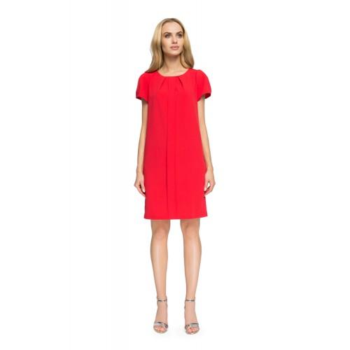 """Style Červené """"áčkové"""" šaty so záhybom a krátkym rukávom S023"""