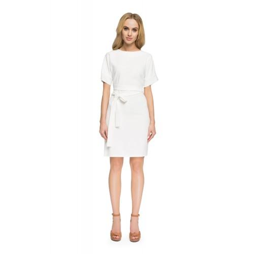 Style Smotanovobiele púzdrové šaty so zadným výstrihom S025