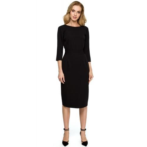 Čierne púzdrové šaty s gombíkmi vzadu a širokým pásom S119