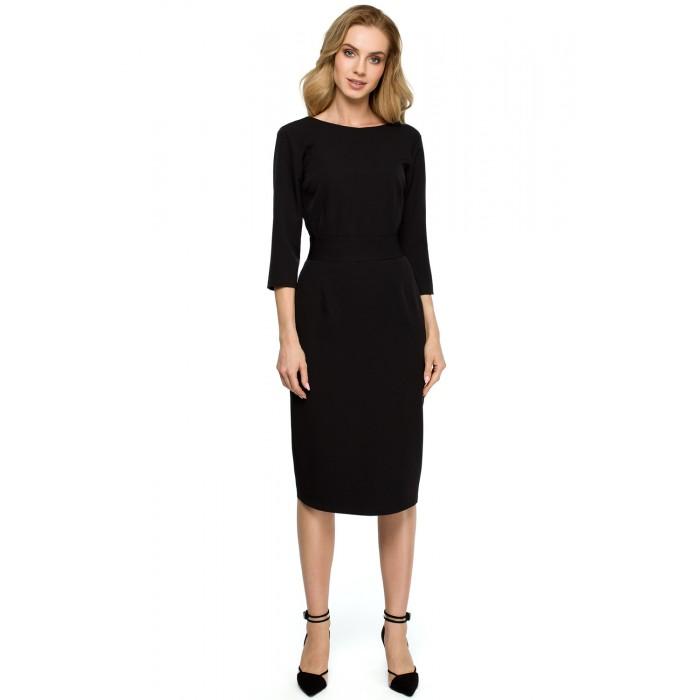 4f4a7ef9477f Čierne púzdrové šaty s gombíkmi vzadu a širokým pásom S119