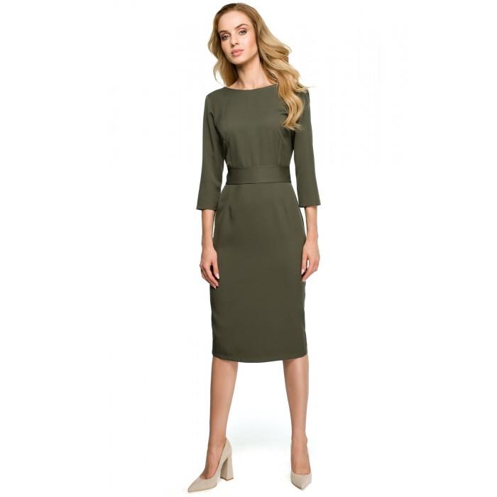 5c568796d0f2 Khaki púzdrové šaty s gombíkmi vzadu a širokým pásom S119