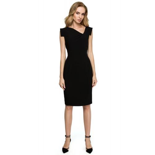 Čierne púzdrové šaty s asymetrickym dekoltom S121