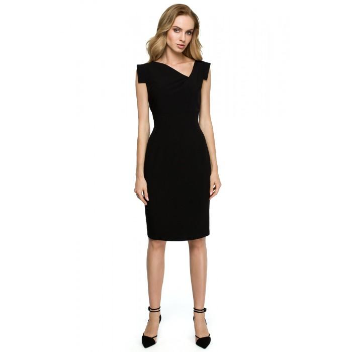 da0d872be5fc Čierne púzdrové šaty s asymetrickym dekoltom S121