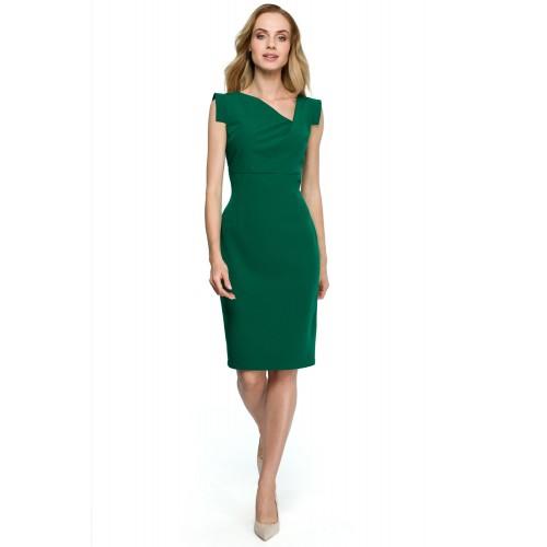 Zelené púzdrové šaty s asymetrickym dekoltom S121