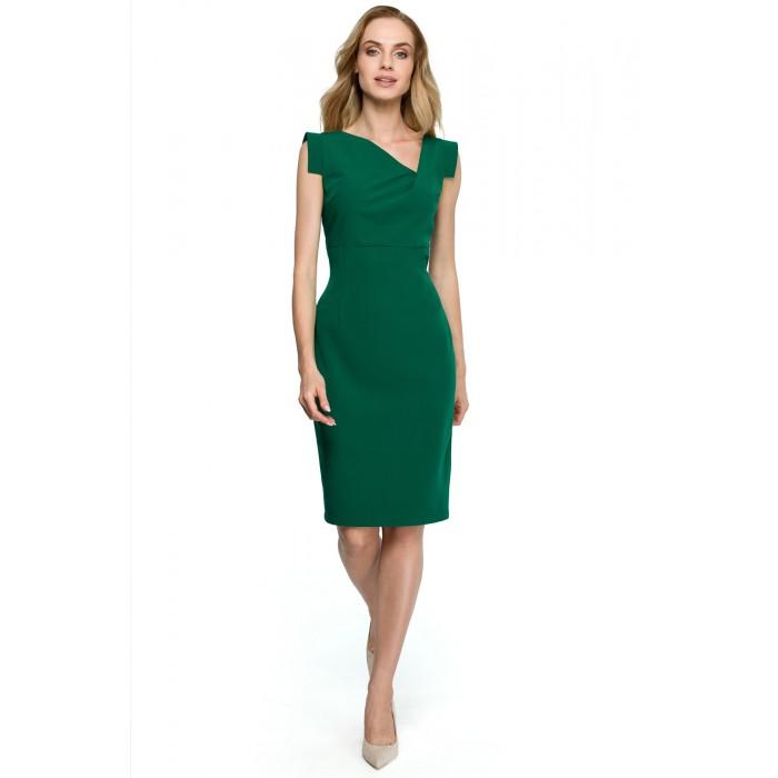Zelené púzdrové šaty s asymetrickym dekoltom S121 7bc46679c4e