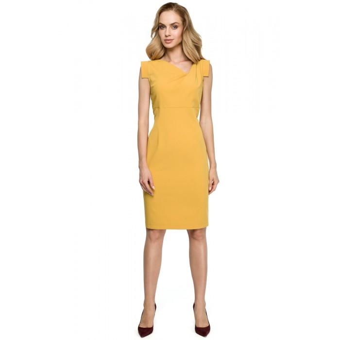 fb4124be446d Žlté púzdrové šaty s asymetrickym dekoltom S121