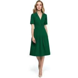 Zelené MIDI šaty v Alínii s preloženým dekoltom S122
