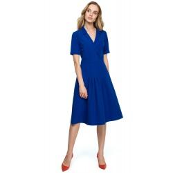 Kráľovsky modré MIDI šaty v Alínii s preloženým dekoltom S122