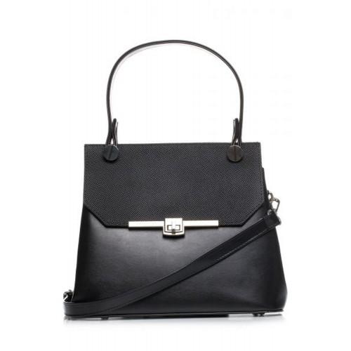 Čierna elegantná kabelka s kovovým zapínaním SB286