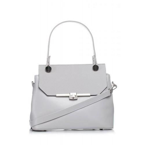Šedá elegantná kabelka s kovovým zapínaním SB286