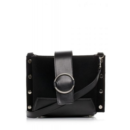Čierna crossbody kabelka s vybíjaním a kruhovou prackou SB383