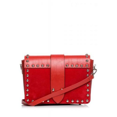 Červená crossbody kabelka s vybíjaním SB400