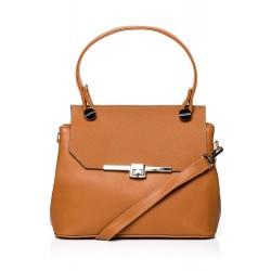 Škoricovo hnedá elegantná kabelka s kovovým zapínaním SB286