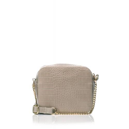 Béžová elegantná kožená kabelka s retiazkou SB500