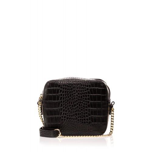 Čierna elegantná kožená kabelka s retiazkou SB500