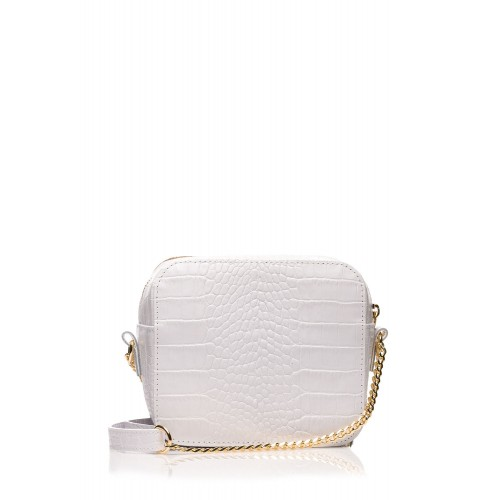 Biela elegantná kožená kabelka s retiazkou SB500
