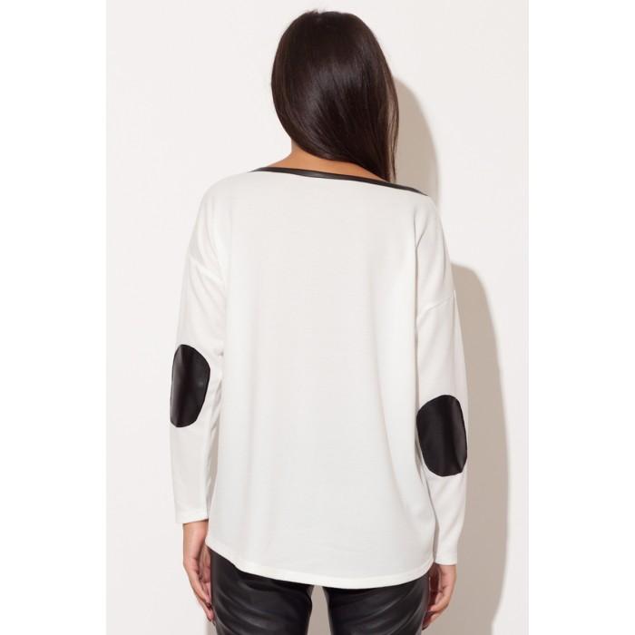 129fb60ff2b0 Dámsky biely top s čiernym koženým lemom k118
