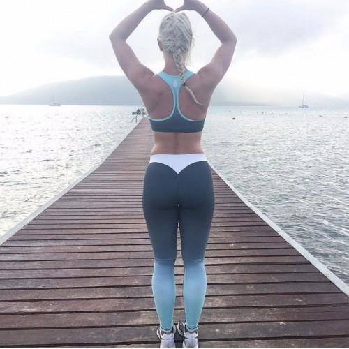 Šedo-modré športové legíny FITNESS Trening LEG13
