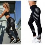 Čierne športové legíny s bielymi pásmi FITNESS Trening LEG15