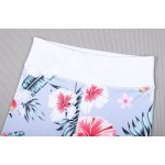 Biele kvetované športové legíny FITNESS Trening LEG27