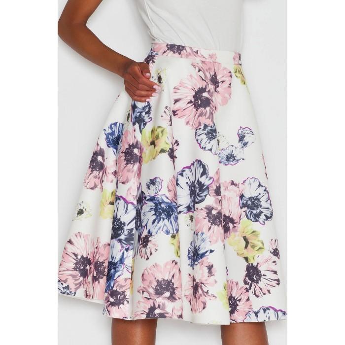 712aa7734318 Dámska retro sukňa s potlačou kvetov v midi dĺžke M383
