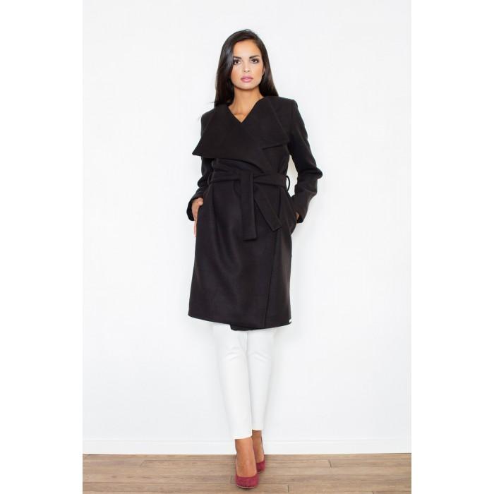 Klasický čierny ležérny dámsky kabát s opaskom M408 2b56de87ccb