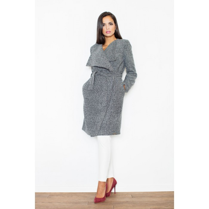 Klasický šedý ležérny dámsky kabát s opaskom M408 ee179191009