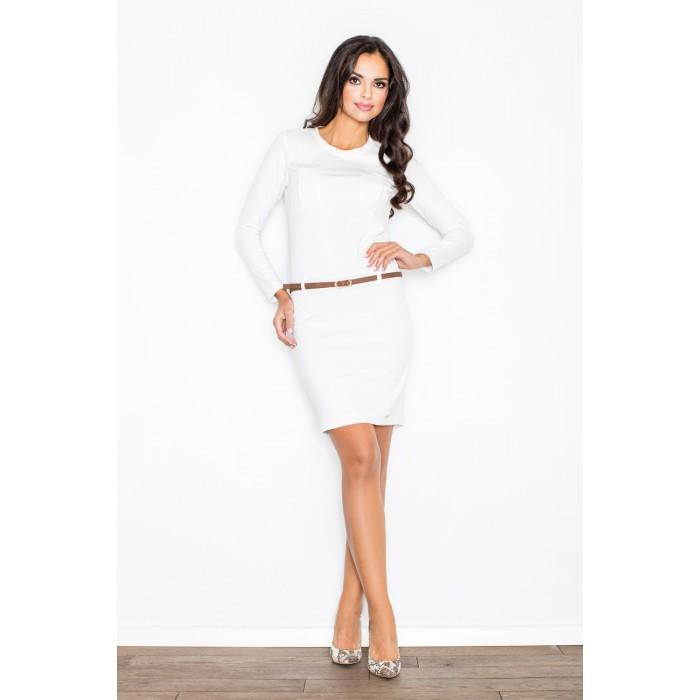4ad6b263e080 Dámske biele púzdrové šaty s béžovým opasokom M414