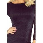Čierne čipkované šaty s dlhým rukávom 180-1