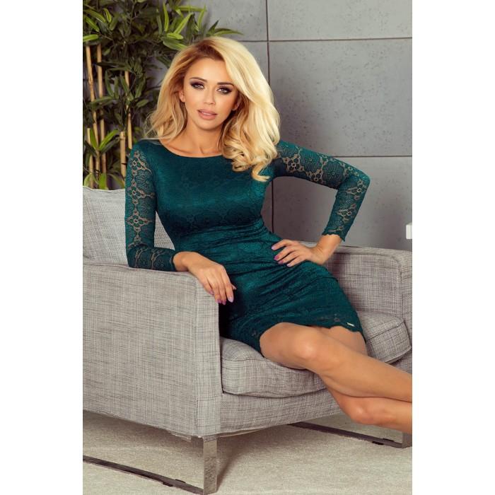 Smaragdovo zelené čipkované šaty s dlhým rukávom 180-2 47c74d2a957