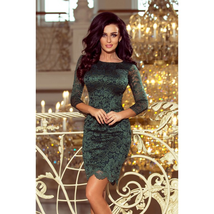 576bddc72e Jasne zelené čipkované šaty s dlhým rukávom 180-3